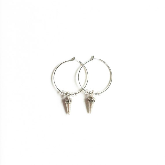 Micro Aztec Silver/Gold Spike Charm Hoop Earrings //handmade //gifts for her