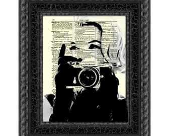 Marilyn Monroe with Camera, Marilyn Monroe Art Print, Print on Antique Dictionary Paper, Wall Decor, Mixed Media Collage