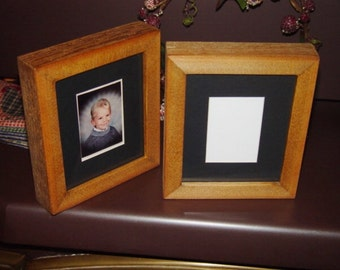 school size picture photo frame solid rustic cedar wood matted craft oak finish deep profile display