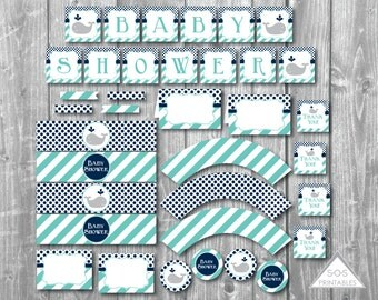 Whale Baby Shower Printables, Boy Baby Shower, Blue Whale, Baby Shower Decorations, Party Printables, Shower Décor, Instant Download