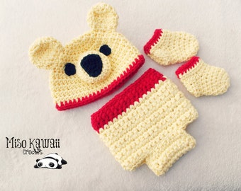 Newborn Winnie the Pooh Baby Outfit-Crochet Bear Hat-Winnie the Pooh Inspired-Pooh Themed Nursery-Yellow Hat-Pooh Bear Diaper Cover-Booties