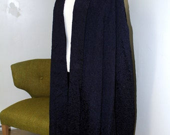 SALE Vintage Antique Cape 1920s Dark Navy Quilted