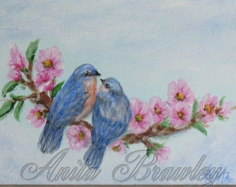 Bluebird's in Love Original Painting – Shipping Included