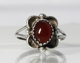 Carnelian Ring Sterling Silver Size 5.25 Vintage Jewelry