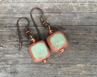 Handmade Ceramic Earrings - Seafoam Green