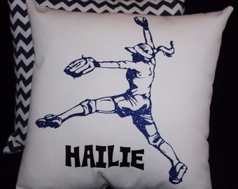 Personalized non flaking glitter SOFTBALL PITCHER  Pillow personalized with players name