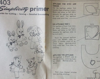 Vintage 1950s Simplicity  Pattern #1403 Bunnie,  Dog, and Cat Pattern Factory Folded **Epsteam