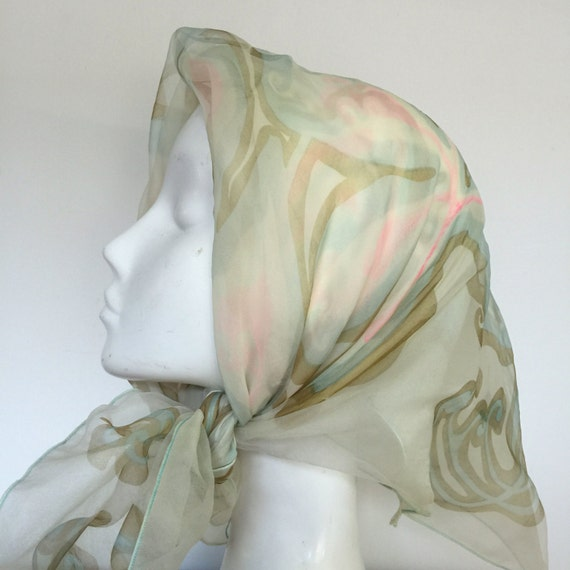 1950s scarf swirly filigree print 1960s pale sheer nylon blue pink 50s pin up double layer chiffon psychedelic swirly