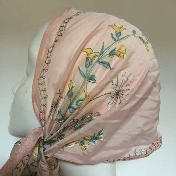 1950s scarf floral blush pink long sheer nylon scarf dandelion head flora fauna 50s pin up oblong screen printed