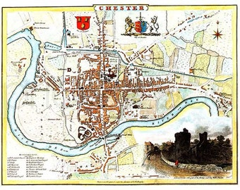 Chester 1807 - Antique English Map of Chester, Cheshire - 8 x 10 ins PRINT - FREE P&P UK