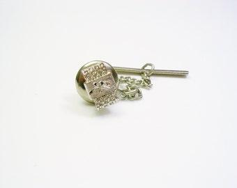 Vintage Tie Tack / Tie Pin, silver tone, MAD MEN, Men Wedding Jewelry, Tie Accessory, Tie Tac, Groom Best Man Gift, Mens Accessories