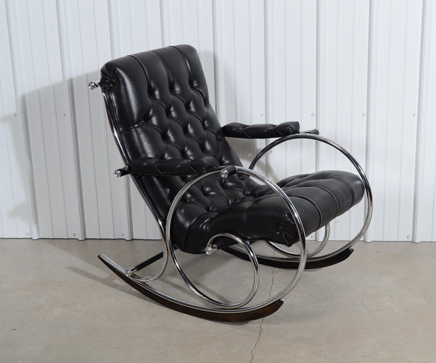 Woodard Leather Rocking Chair Mid Century Modern By HearthsideHome. Full resolution  pic, nominally Width 1500 Height 1247 pixels, pic with #5A6471.