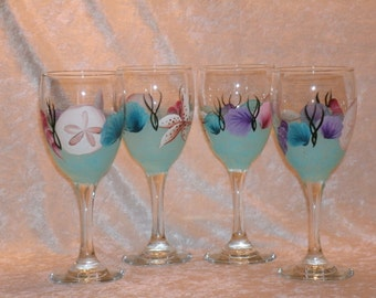 SEASHELL WINE GLASSES, set of four
