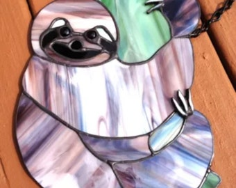Stanied Glass Three Toed Sloth Sun Catcher