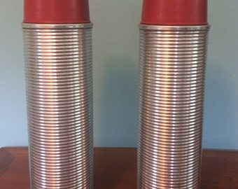 """Vintage Metal Ribbed Silver Thermos brand Thermos with Nesting Cups, 14"""""""