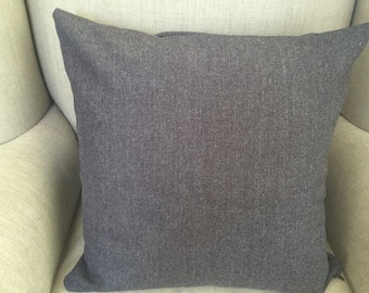 Charcoal Square Cushion/Pillow Cover in Warwick Woollen Fabric.