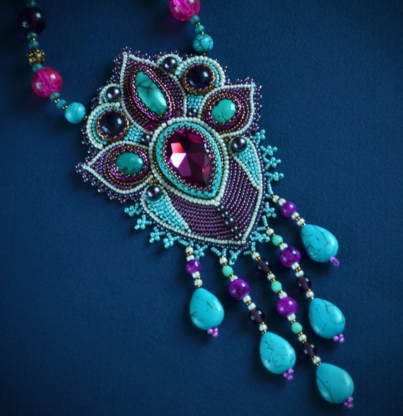 Embroidered Necklace Beadwork Jewelry Indian Style