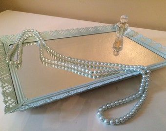 Antique Mirrored Vanity Tray Light Blue