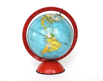 Vintage Globe - Vintage World Globe - Replogle Globe - Decorative Globe - Small Globe - Metal Globe - Globe Decor - Vintage Toy Globe
