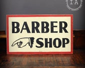 Vintage Hand Painted Wooden Barber Shop Advertising Sign