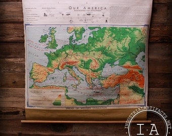 Vintage 1959 Denoyer Geppert Spread of Western Civilization Pull Down World Map WA1