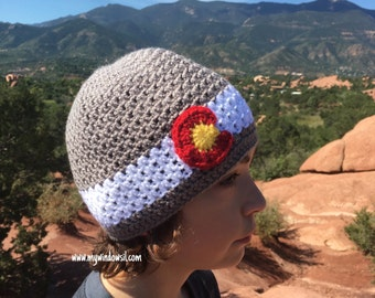 Crochet Men's Colorado Hat- Baby, Child, Teen, Adult sizes, Black, Brown or Gray, Colorado flag hat, Colorado Beanie mens hat