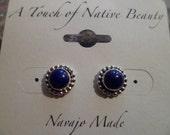 Authentic Navajo Native American Southwestern sterling silver Lapis Lazuli stud earrings.