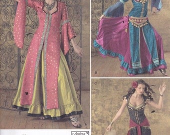 Simplicity 2159 Costume Pattern - Belly Dancer, Bollywood, Gypsy in 3 Variations Size 6,8,10,12 UNCUT