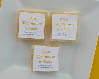 Gold Soap Favors - Baby Shower Favors - Bridal Shower Favors - Wedding Favors - Square Soaps - From My Shower to Yours