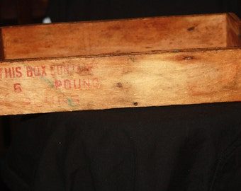Antique Wood Strater Brothers Branch Louisville Days Work Tobacco Plug Box or Crate