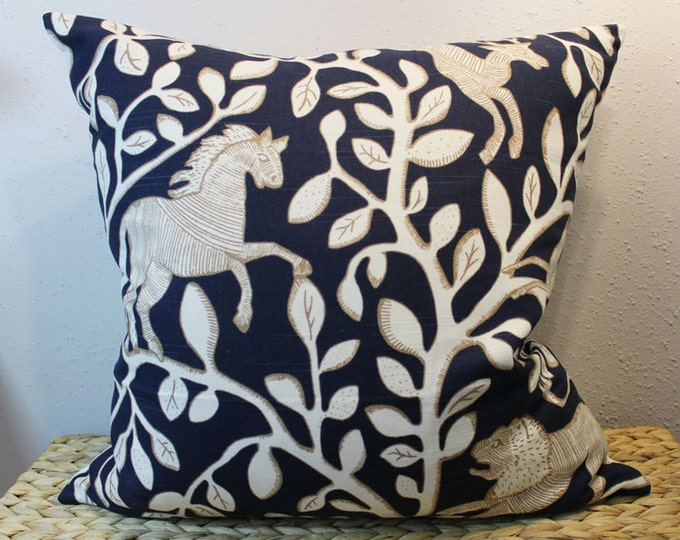 navy animal floral pillow - whimsical nursery decor
