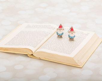 Garden Gnome Earrings - Wee Garden Gnome Jewelry - Gnome Earrings - Gift for Gardener - Fantasy Jewelry - Garden Gome Woodland Gnome Earring