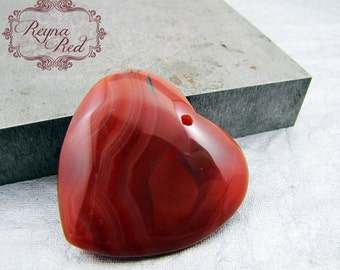 Natural Red Agate Smooth Heart Focal, red striped agate focal, heart gemstone focal, gem heart pendant by reynaredsupplies