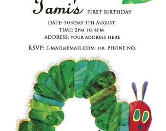 Very Hungry Caterpillar Birthday Invitation, Birthday Invitation Card