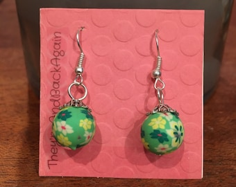 Green&Yellow Flowers Clay Bead Earrings