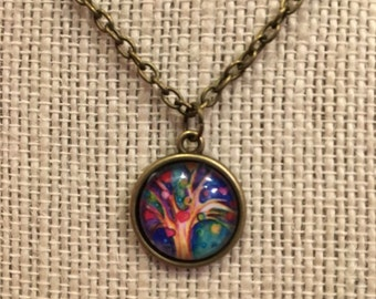 "16"" Multicolored Hearts Tree of Life Glass Pendant Necklace"