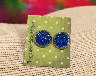10mm Metallic Blue Faux Druzy Stud Earrings