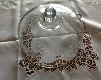 Vintage Glass Cake Plate Dome Food Dome Vintage Glass Dome