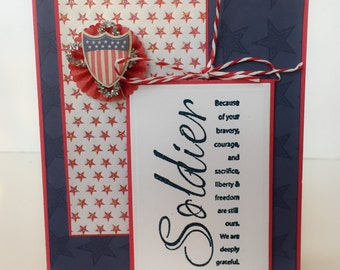 Handmade Military Card, Solider Card, Patriotic Card, Military Thank You, Red White Blue, Soliders, Army, Veterans Day, Veteran Thank You