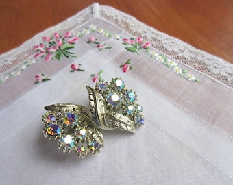 Vintage Rhinestone Clip Earrings  Coro Earrings Vintage Jewelry