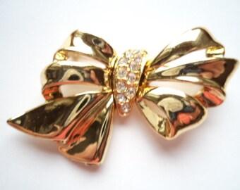 Vintage Signed Danecraft Goldtone/AB Stones Bow Brooch/Pin