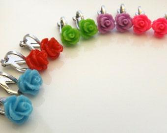 Girls flower clip on's-Sterling Silver Studs- Flower Girl Gift- Children's Earrings-Little Girls Flower Studs-Clip On's For Kids-Kids Studs