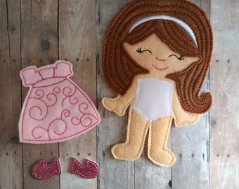 Abby Felt Doll Play Set, Blue or Pink Dress, 4 Pieces, Embroidered Acrylic Felt, Pretend Play, Unpaper Doll, Nonpaper Doll, Girl Doll