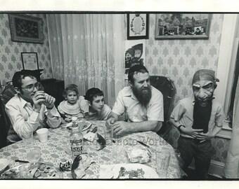Jewish family with bread vodka Pirate mask strange vintage art photo by M Schrut