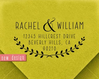 CUSTOM ADDRESS STAMP, personalized pre inked address stamp, wreath address stamp, return address stamp with proof - Wreath design d5-23