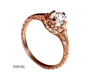 Vintage Morganite Engagement ring, 14k rose gold morganite lace ring, light Peach Pink Morganite , alternative engagement ring, promise ring