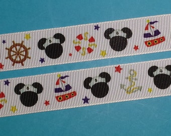 """Nautical Mouse 7/8"""" Grosgrain Ribbon -  for Disney Cruise - Mickey - Exclusive DCL Design! Limited!"""