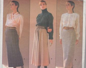 "1986 vintage skirt pattern VOGUE 1790 Sewing Pattern by designer Calvin Klein Size 16 (30"" waist) UNCUT complete"