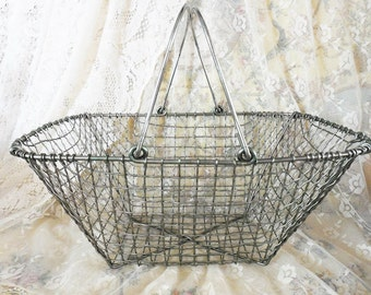 "Large Vintage Crimped Wire Market Basket or Shopping Tote, Mesh Construction, 18"" by 11"" by 9"""