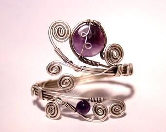 purple amethyst cuff bracelet - amethyst bracelet - wire wrapped jewelry handmade - Adjustable bracelet - silver bracelet - wire jewelry